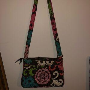 Vera Bradley brown, white, & pink crossbody bag